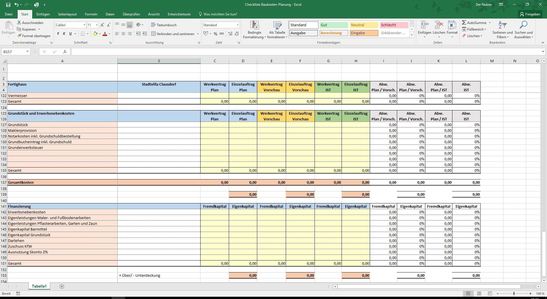 Excel-Checkliste Baukosten-Planung für Ihren Hausbau