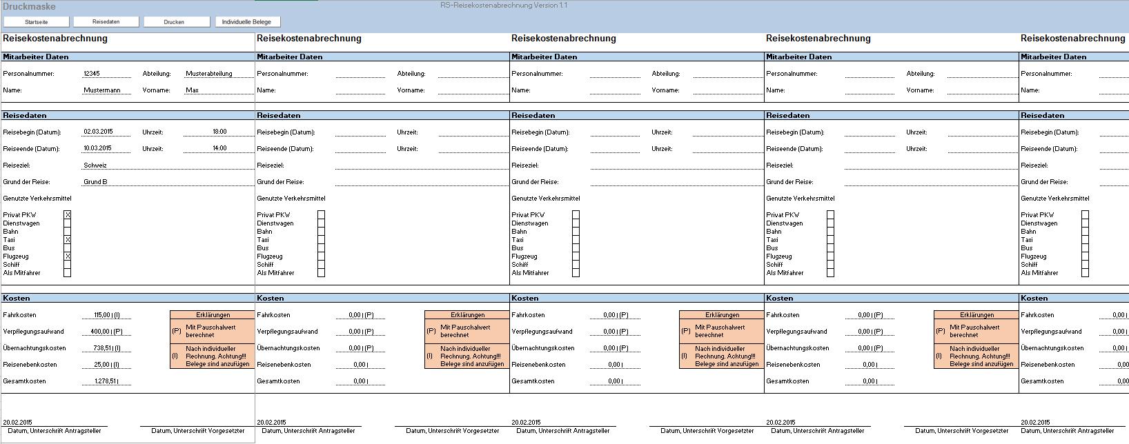 Excel Vorlage Reisekostenabrechnung