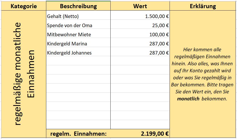 Einnahmen Ausgaben übersicht Für Den Privaten Haushalt In Excel