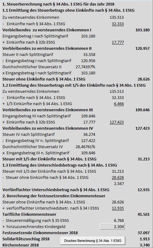 Einkommensteuer Berechnen Selbständig : einkommensteuer excel tool zur berechnung mit 32b 34 35 estg und mehr ~ Themetempest.com Abrechnung