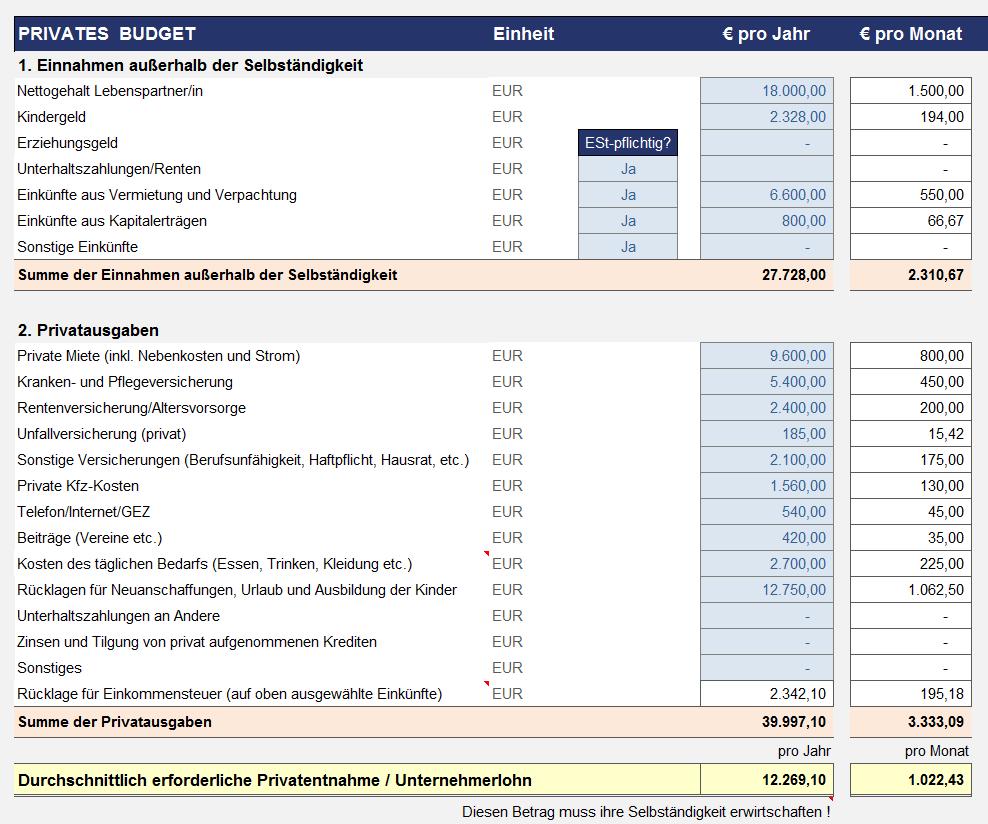 Excel Preiskalkulation Fur Selbstandige