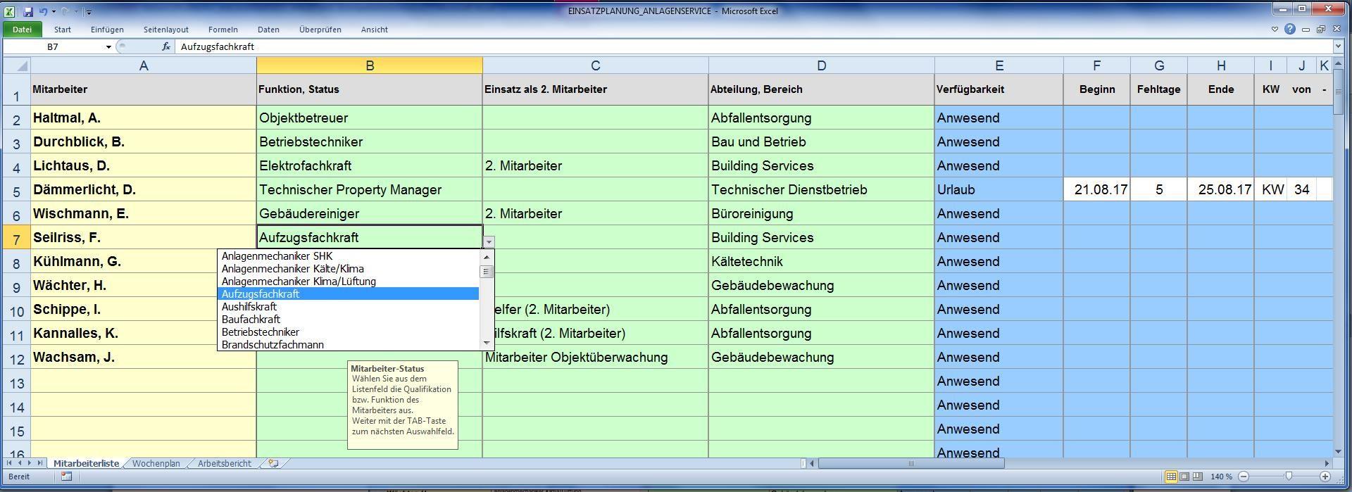 Mitarbeiter-Einsatzplanung Gebäude- und Anlagenservice
