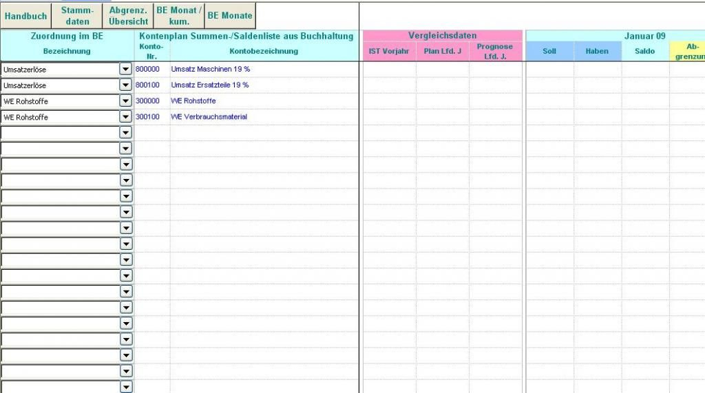 Excel Tool Betriebsergebnis