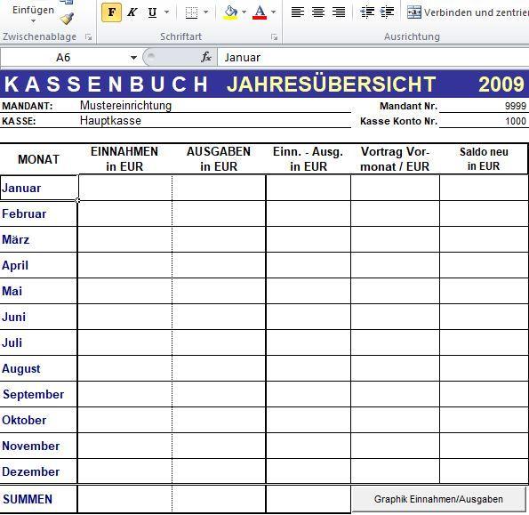 Excel-Kassenbuch mit flexiblen Auswertungsmöglichkeiten