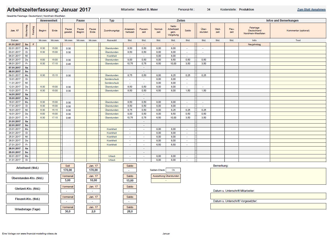 Arbeitszeiterfassung Tätigkeitsnachweis