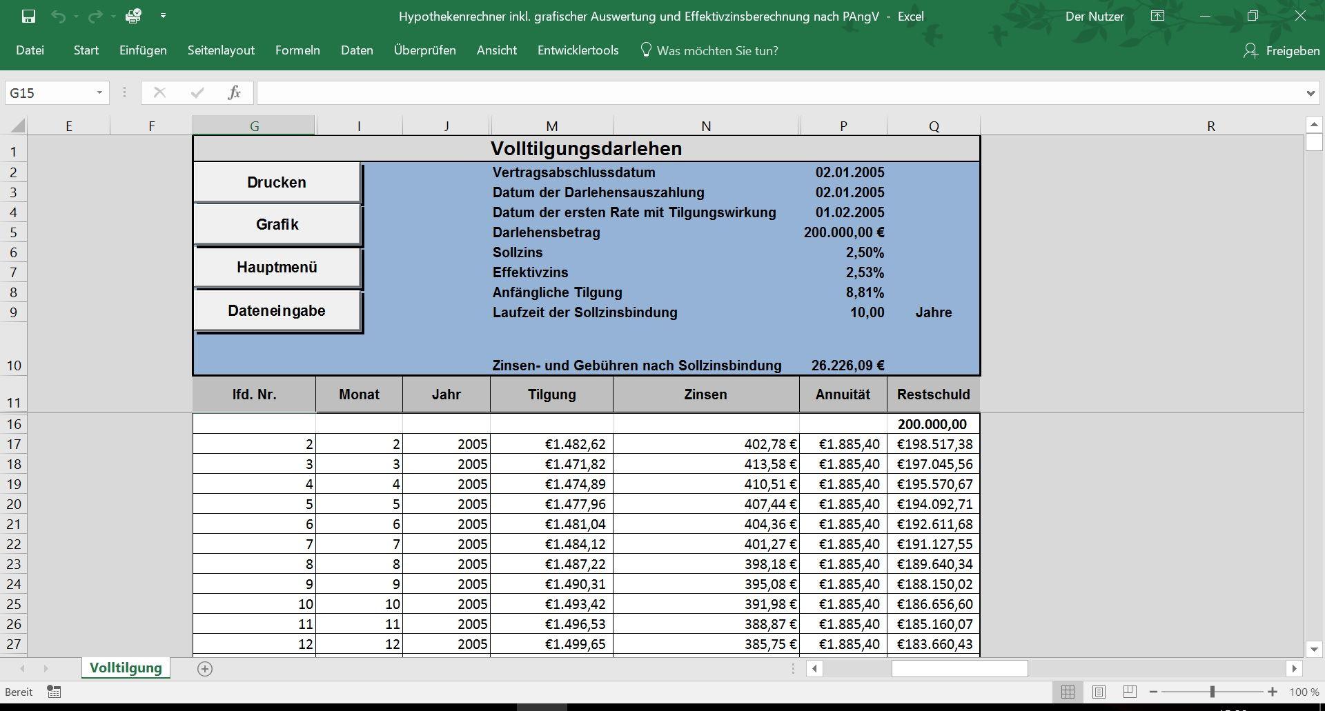 Hypothekenrechner inkl. grafischer Auswertung und ...