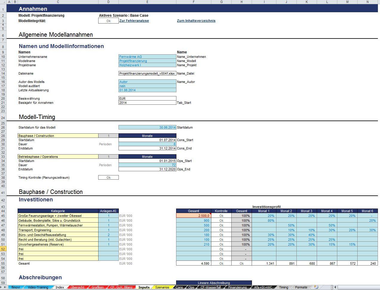 Excel Projektfinanzierungsmodell mit Cash-Flow, GuV und Bilanz