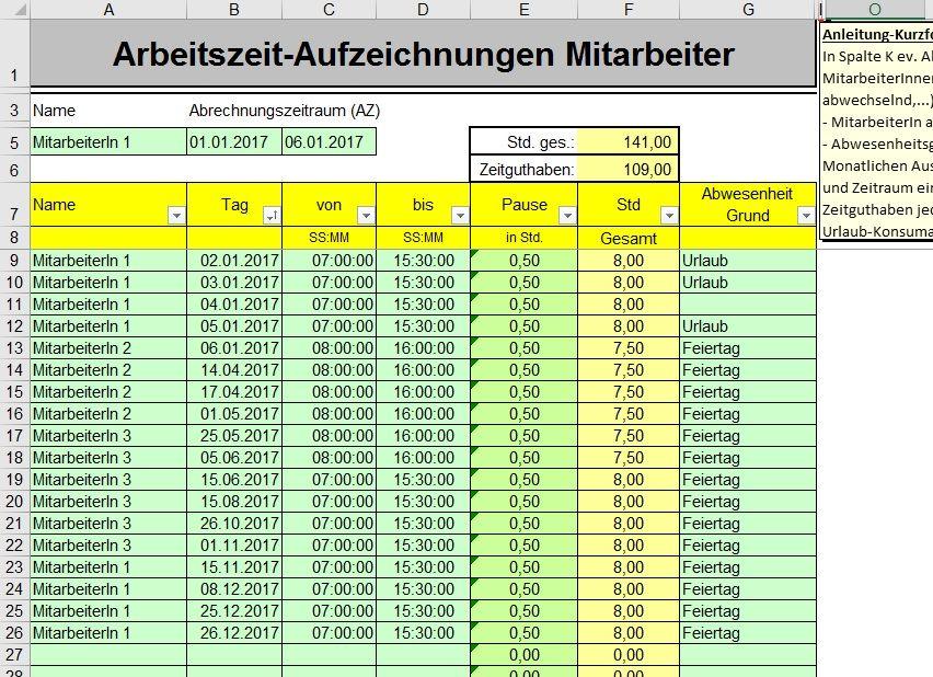 Atemberaubend Mitarbeiter Lohnzettel Vorlage Excel Zeitgenössisch ...