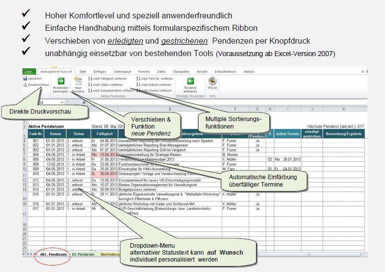 Excel-Vorlage: Management Task-List (Pendenzenverwaltung)