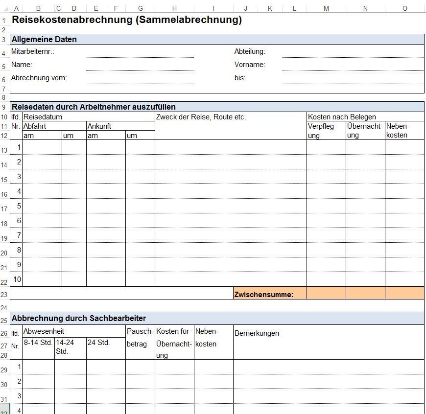 Vorlage Formular Für Dienstreiseantrag Reisekostenabrechnung Und