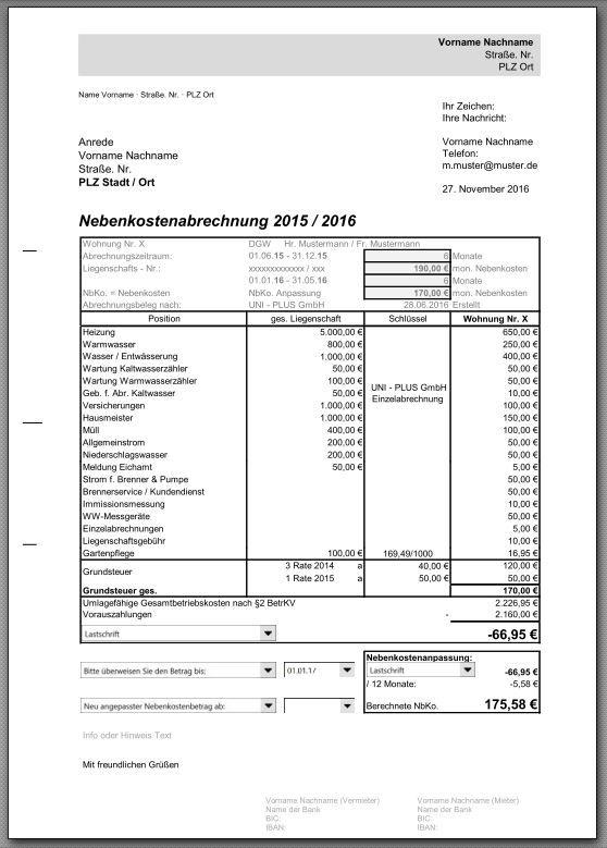 Nebenkostenabrechnung Einer Eigentumswohnung In Excel