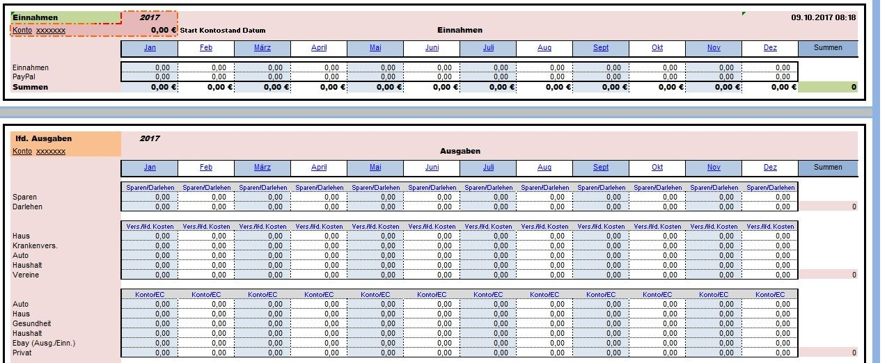 Kontenplanung mit Excel