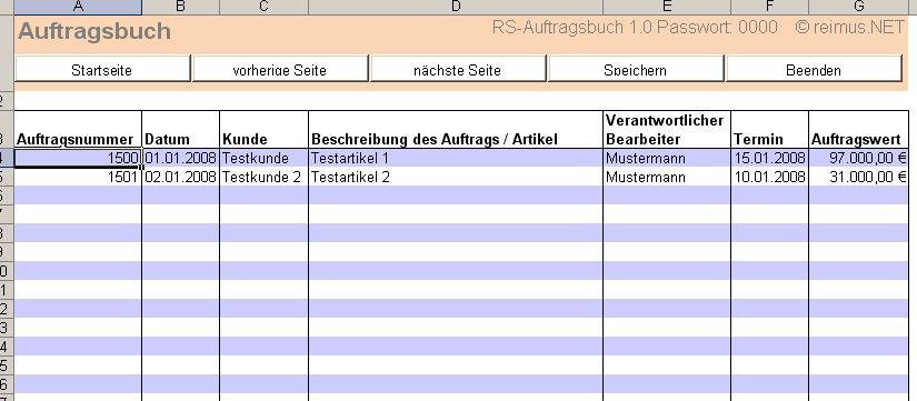Rs Auftragsbuch Excel Tool